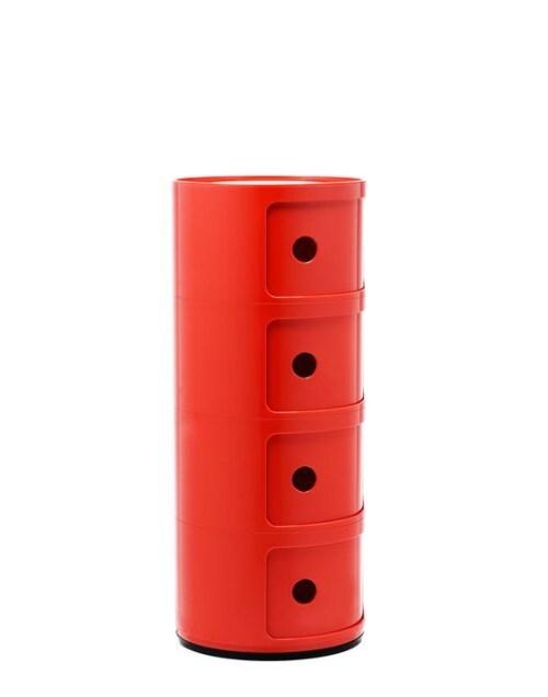 Kartell Componibili kastje -4 hoog-Rood
