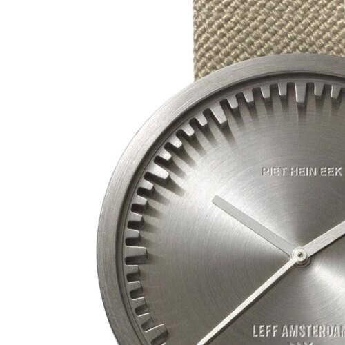 LEFF Amsterdam Tube D38 leer band zand-Wijzerplaat zilver