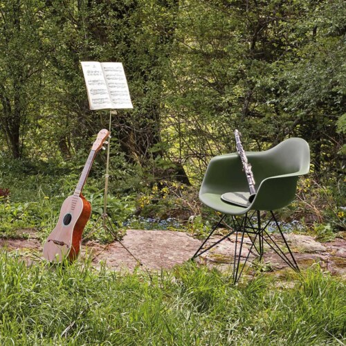 Vitra Eames DAR stoel met verchroomd onderstel-Graniet grijs