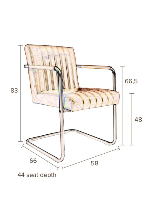 Dutchbone Stitched stoel-Cognac