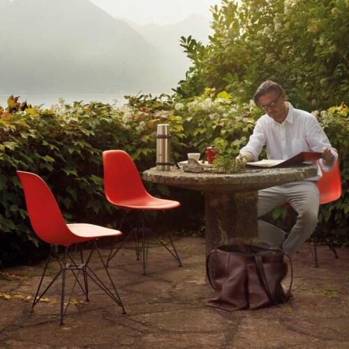 Vitra Eames DSR stoel met verchroomd onderstel-Helder grijs