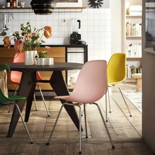 Vitra Eames DSX stoel met verchroomd onderstel-Mosterd