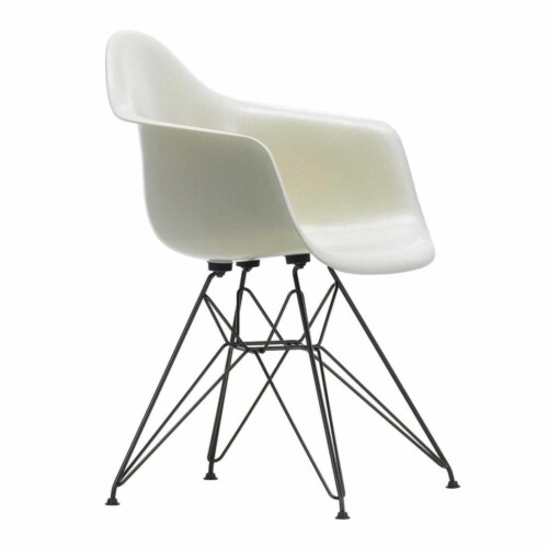 Vitra Eames DAR Fiberglass stoel met zwart onderstel-Parchment