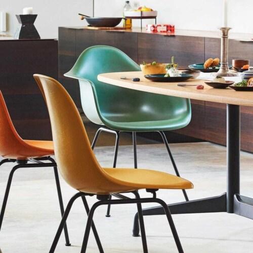 Vitra Eames DAX Fiberglass stoel met verchroomd onderstel-Raw Umber