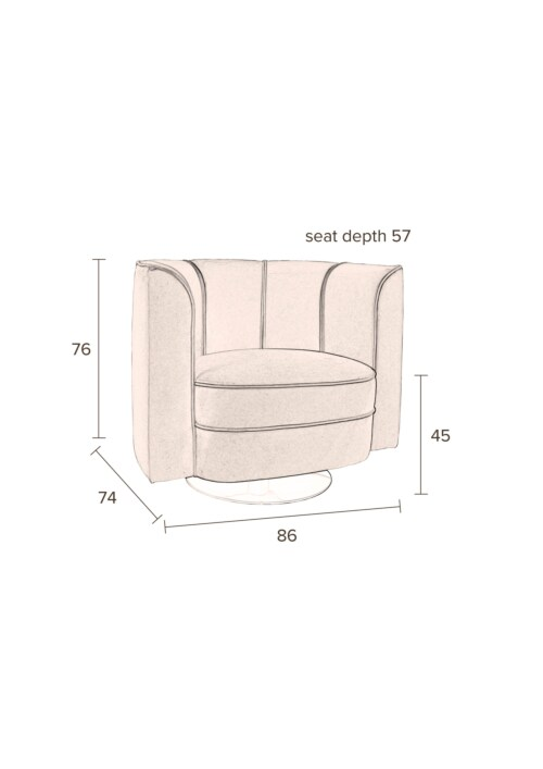 Dutchbone Flower Lounge Chair stoel-Zwart