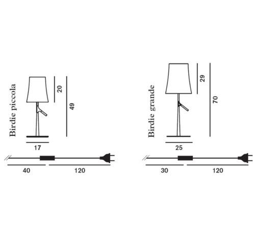 Foscarini Birdie met dimmer tafellamp-Grijs-Piccola