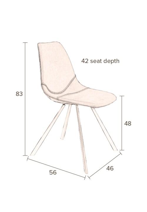 Dutchbone Franky Velvet stoel-Roze