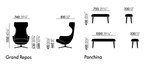 Vitra Repos Panchina 75 cm voetenbank