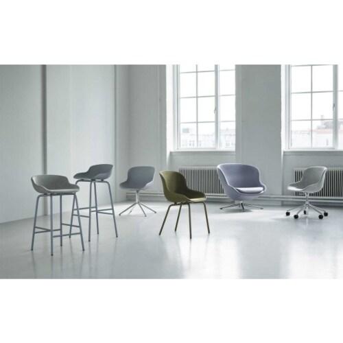 Normann Copenhagen Hyg barkruk front upholstery-Zwart leer-Zithoogte 75 cm