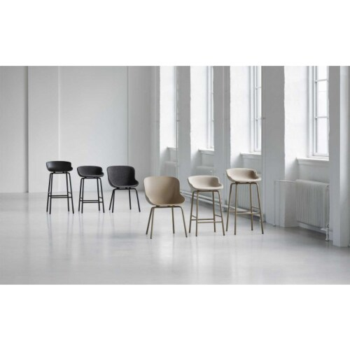 Normann Copenhagen Hyg barkruk front upholstery-Olijf groen-Zithoogte 75 cm