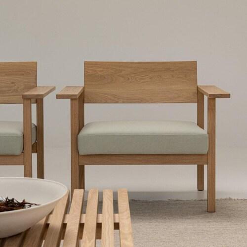 Studio HENK Base Lounge chair-Multigrey 99965-Hardwax oil natural