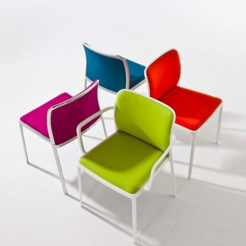 Kartell Audrey Soft aluminium stoel-Zwart-Met armleuning