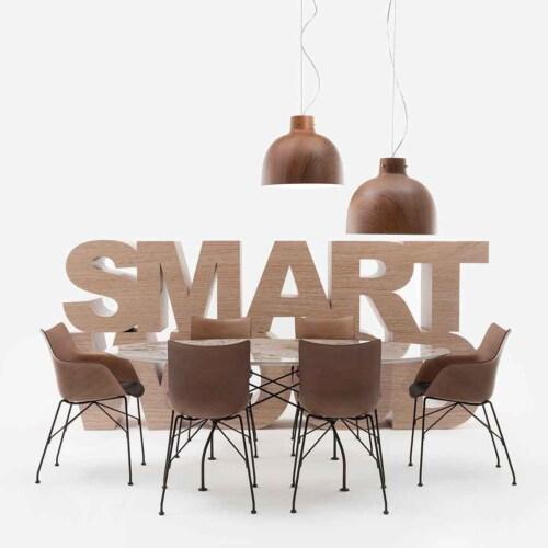 Kartell P/Wood stoel essen-Donker hout-Zwart-41,5 cm