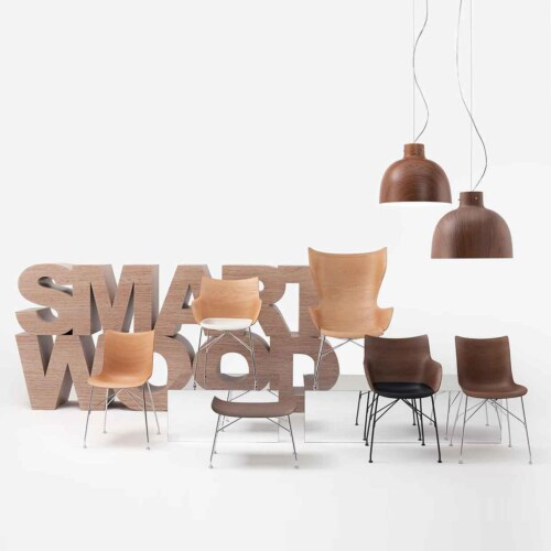 Kartell Q/Wood stoel beuken-Donker hout-Zwart-43,5 cm