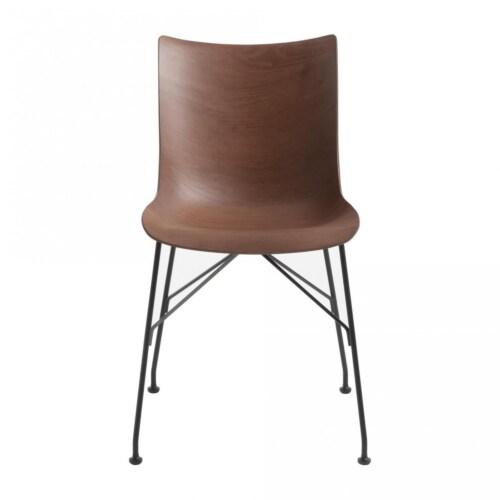 Kartell P/Wood stoel beuken-Donker hout-Zwart-43,5 cm