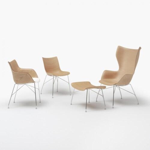 Kartell P/Wood stoel essen-Licht hout-Chroom-41,5 cm
