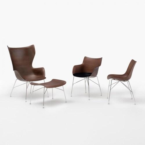 Kartell Q/Wood stoel essen-Donker hout-Chroom-43,5 cm