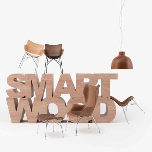Kartell P/Wood stoel essen-Donker hout-Chroom-43,5 cm