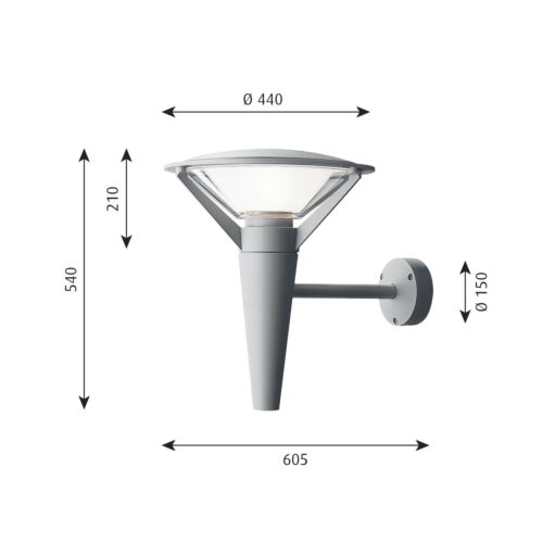 Louis Poulsen Kipp wandlamp-Aluminium