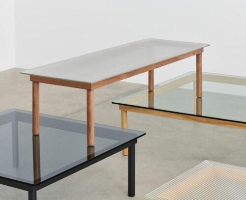 HAY Kofi salontafel 140x50 cm-Grey Tinted Glass-Zwart water-based gelakt eiken