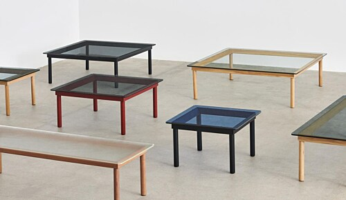 HAY Kofi salontafel 60x60 cm-Clear Reeded Glass-Water-based gelakt eikenhout