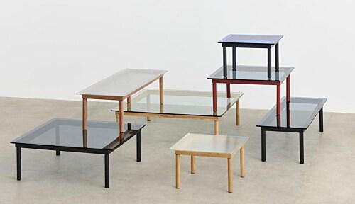 HAY Kofi salontafel 80x80 cm-Grey Tinted Glass-Water-based gelakt eikenhout