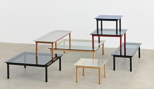 HAY Kofi salontafel 60x60 cm-Clear Reeded Glass-Zwart water-based gelakt eiken