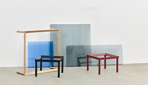 HAY Kofi salontafel 60x60 cm-Blue Tinted Glass-Zwart water-based gelakt eiken
