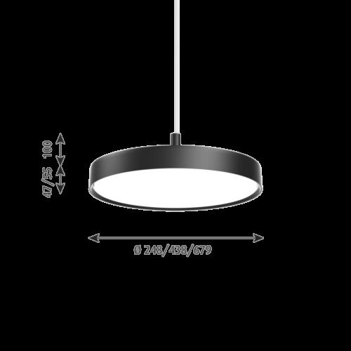 Louis Poulsen Slim Round Suspended hanglamp-Zwart-∅ 25 cm