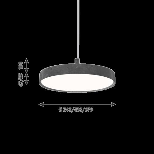 Louis Poulsen Slim Round Suspended hanglamp-Donker aluminium-∅ 25 cm