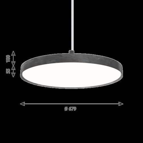 Louis Poulsen Slim Round Suspended hanglamp-Donker aluminium-∅ 68 cm