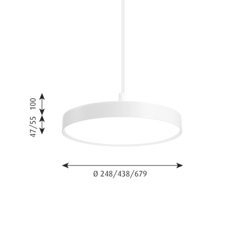 Louis Poulsen Slim Round Suspended hanglamp-Wit-∅ 44 cm