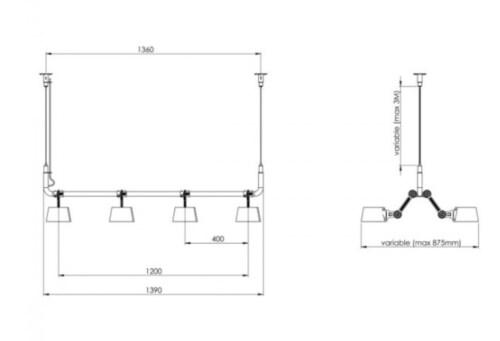 Tonone Bolt 8 Pack Pendant hanglamp-Black