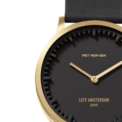 LEFF Amsterdam Tube T32 Classic leer band zwart-Wijzerplaat zwart