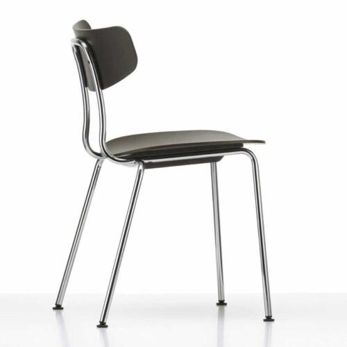 Vitra Moca stoel met verchroomd onderstel-Donker eiken