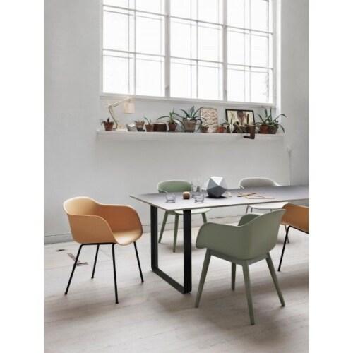 muuto Fiber Wood gestoffeerde stoel-Leer / cognac