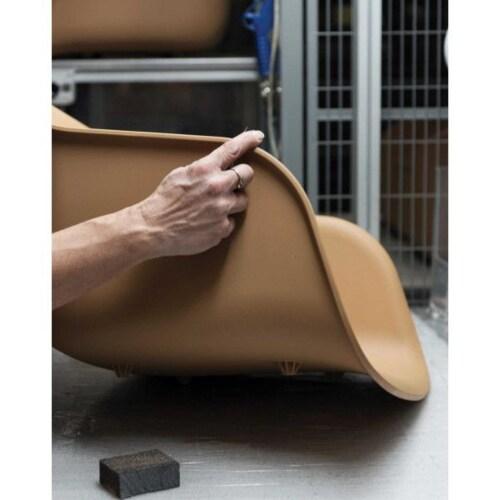 muuto Fiber Wood gestoffeerde stoel-Leer / zwart