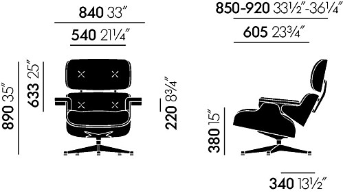 Vitra Eames Lounge chair fauteuil walnoot zwart pigment NW