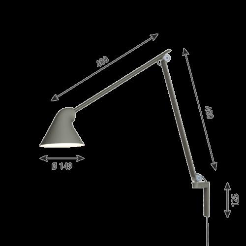 Louis Poulsen NJP Long Arm wandlamp-Donker grijs