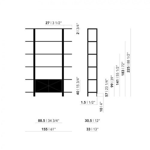 Studio HENK Oblique Cabinet OB-3L zwart frame-155 cm (2 frames)-Hardwax oil natural