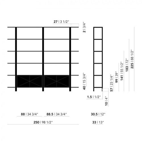 Studio HENK Oblique Cabinet OB-5L zwart frame-250 cm (3 frames)-Hardwax oil natural