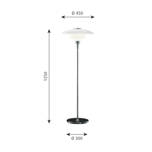 Louis Poulsen PH 4,5-3,5 Glas vloerlamp