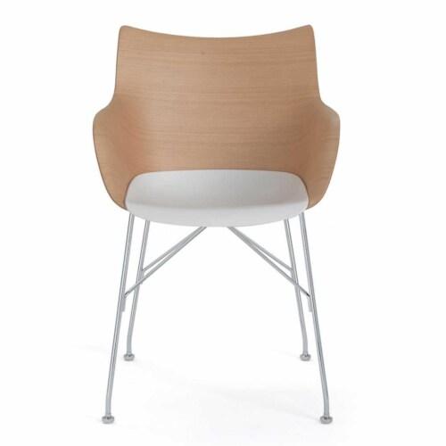 Kartell Q/Wood stoel essen-Licht hout-Chroom-41,5 cm