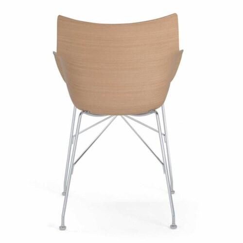 Kartell Q/Wood stoel essen-Licht hout-Chroom-43,5 cm