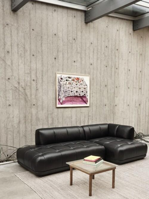 HAY Kofi salontafel 80x80 cm-Clear Reeded Glass-Water-based gelakt eikenhout