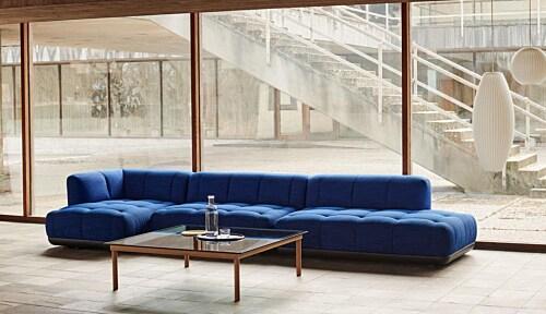 HAY Kofi salontafel 80x80 cm-Blue Tinted Glass-Zwart water-based gelakt eiken