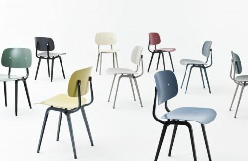 HAY Revolt stoel gepoedercoat onderstel-Black - Azure Blue