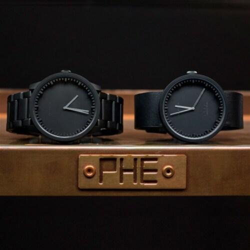 LEFF amsterdam Tube horloge band staal-Zwart