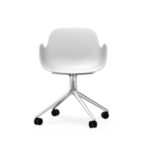 Normann Copenhagen Form Swivel bureaustoel aluminium onderstel-White