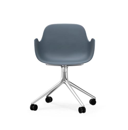Normann Copenhagen Form Swivel bureaustoel aluminium onderstel-Blue